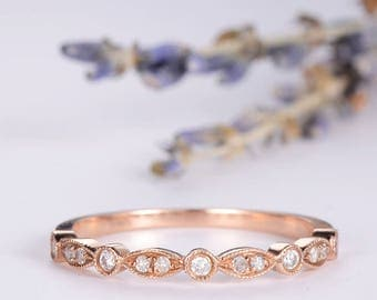 Art Deco Wedding Band Women Diamond Eternity Band Rose Gold Ring Antique Stacking Marquise Milgrain Dainty Anniversary Gift Promise Matching
