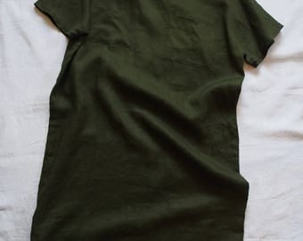 Linen dress in dark green linen, size M