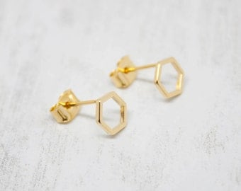 Earring Yellow gold Hexagon Earrings