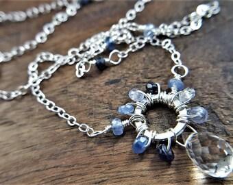 Sapphire Choker Necklace, Genuine Sapphire, Blue Sapphire Pendant, Sterling Silver Choker Necklace, Sapphire Jewelry, Gemstone Choker
