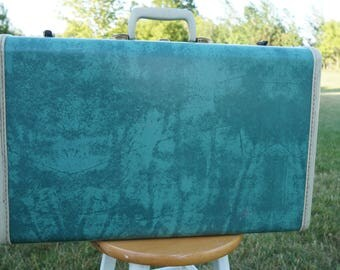 "Vintage 21"" Teal Turquoise Green Marbled Samsonite Suitcase. Mid-Century Travel Luggage."