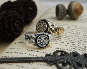 Vegvísir ring, Mammen Viking compass ring, Norse mythology Mjölnir ring, barbarian Odin,