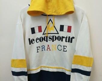 Vintage LE COQ SPORTIF//Sweatshirt Hoodie//Nice Color Block//Size M//Made In Japan