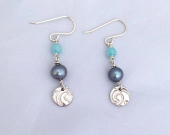 Fine silver smalll discs with a freshwater Pearl and Amazonite drop earrings