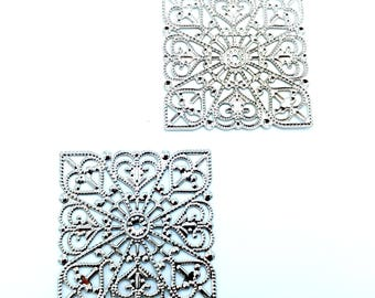 50pcs Ornate Silver Filigree Findings 40mmx40mm