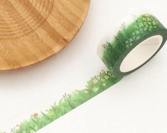 Green Grass Floral Washi Tape (1 pc) Japanese Stationery Masking Tape Deco Tape