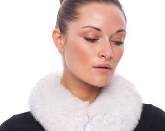 Handmade white fox fur collar