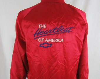 """Vintage 90s """"The Heartbeat of America"""" FORD West Ark Red Satin Bomber Jacket Size Large"""