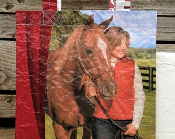 Recycled Feed Bag Tote, reusable tote bag, grocery tote, recycled shopping bag, reusable grocery bag, recycled tote bag, Purina Equine