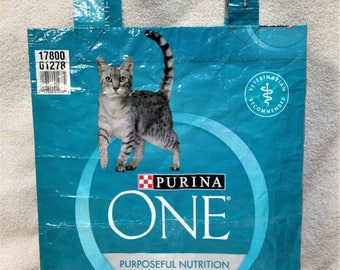 Recycled Feed Bag Tote, reusable tote bag, grocery tote, recycled shopping bag, reusable grocery bag, recycled tote bag, cat, Purina One