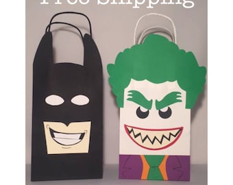 12 Lego Batman and Joker Party Bags Goody Loot Totes