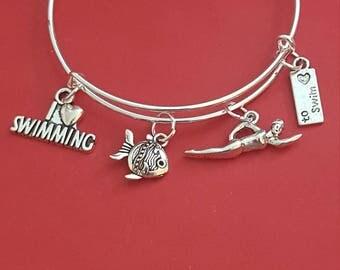 Swimmer Themed Charm Bracelet