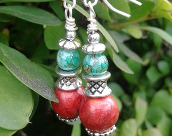 Coral and Malachite Earrings