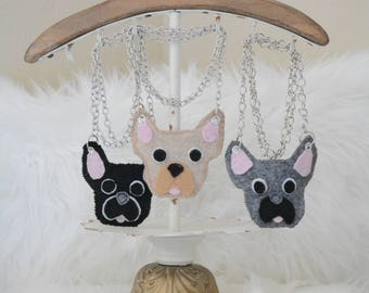 French bulldog, Frenchie, Handmade necklace, Frenchie necklace