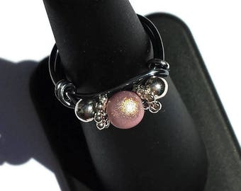 Ring with pearl pink powder and silver-metal pearls-wire ring-small ring-girl ring