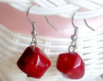 Natural red coral earrings\dark red coral earrings