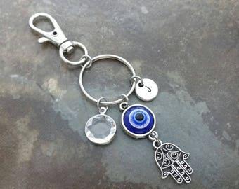 Hamsa, Evil Eye, Protection Keychain, bag charm, zipper pull