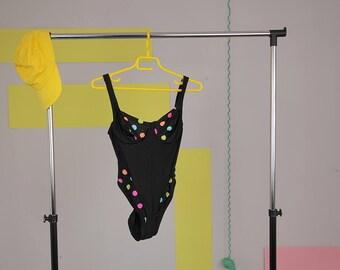 black polka dot swimsuit size 38 one piece bath suit vintage bath suit black beachwear colorful dots vtg swimwear vintage swimsuit