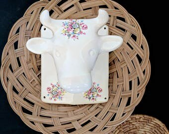 large vintage ceramic cow head wall decor | floral decal
