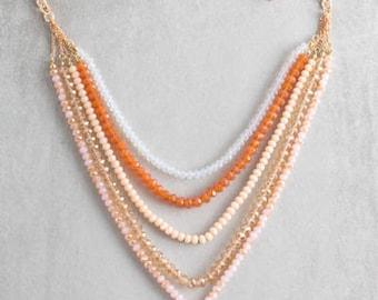 Stella Beaded Necklace | Orange