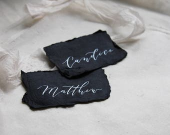Wedding Name Cards. Handmade Paper Cards. Calligraphy Name Cards. Vintage Wedding Placecards. Wedding Table Decorations. Table Settings.