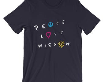 Peace Love Wisdom T-Shirt | Spirituality | Meditation | Love | Unisex Bella Canvas Gift Tee