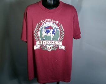 Experience WISCONSIN 80s Cow Tee Sz Large Maroon WI 1980s Tourist Souvenir Farm T-Shirt Burgundy Retro Soft Polycotton Jerzees