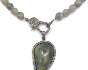 Necklace Only:  Short labradorite necklace with diamond pendant, Labradorite necklace,  Labrado jewelry, Pave diamond jewelry