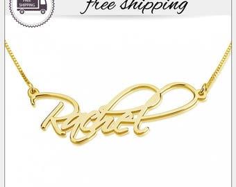 Personalized Script Name Necklace - Custom Name Plate Necklace - Personalized Name Jewelry - Custom Gift