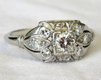 Jabel Art Deco Platinum & Diamond 0.55 Carat Diamond Ring