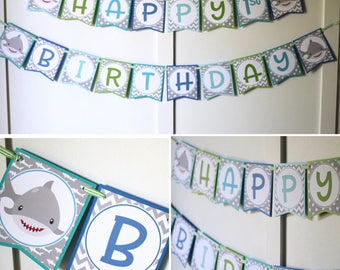 Shark Birthday Banner - Shark Ocean Happy Birthday Banner - Shark Party Decorations Fully Assembled - Grey, Blue, Green