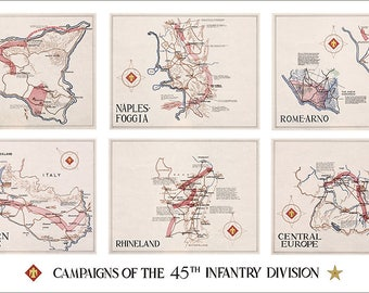 45th Infantry Division Campaign Map - Thunderbird Division - US Army