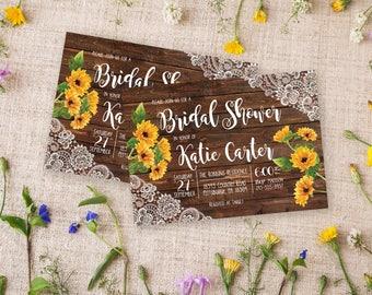 Rustic Bridal Shower Invitation, Sunflower Bridal Shower Invitation Lace Wood Fall Bridal Shower Invitation, Country Bridal Shower Printable