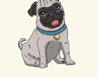 Pug Greetings card: Happy Birthday