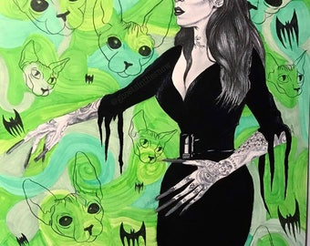 Kat Vonpira and Her Kitties From Outerspace print