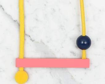 Minimalist Necklace / Acrylic Bright Long Bar / Statement Necklace / Contemporary Necklace