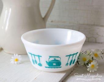 "Hazel Atlas Colonial Kitchen Aids - 5"" Mixing Bowl - Tuquoise Blue - Scalloped Edge - Milk Glass"