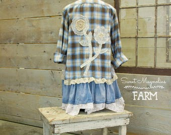 Flannel Shirt - Tunic  - Boho Clothing - Upcycled - Womens Med A- Line Style - Jacket , Blue Brown Plaid vintage Lace Flowers