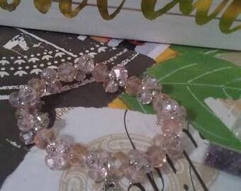 Pink Swaravski  Crystal Bracelet with OM charm