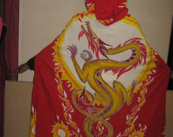 Packable Colorful Cape With A Dragon That Flies to the Sun