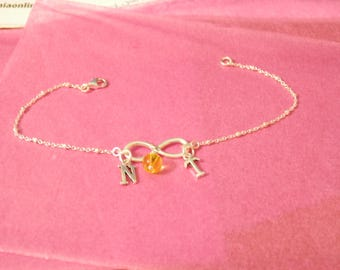citrine bracelet November birthstone sterling silver infinity bracelet citrine jewelry gold initial bracelet birthday gift genuine citrine