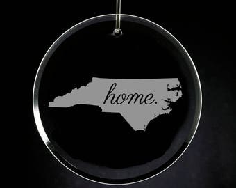 North Carolina Christmas Ornament, Etched Glass, Housewarming Gift, Wedding Gift, State Ornament, NC Gift, North Carolina Home Ornament