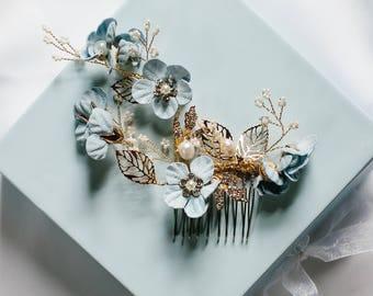 Something blue hair accessory, bridal hair comb, flower hair comb, wedding hair comb, decorative hair comb - Josephine hair comb