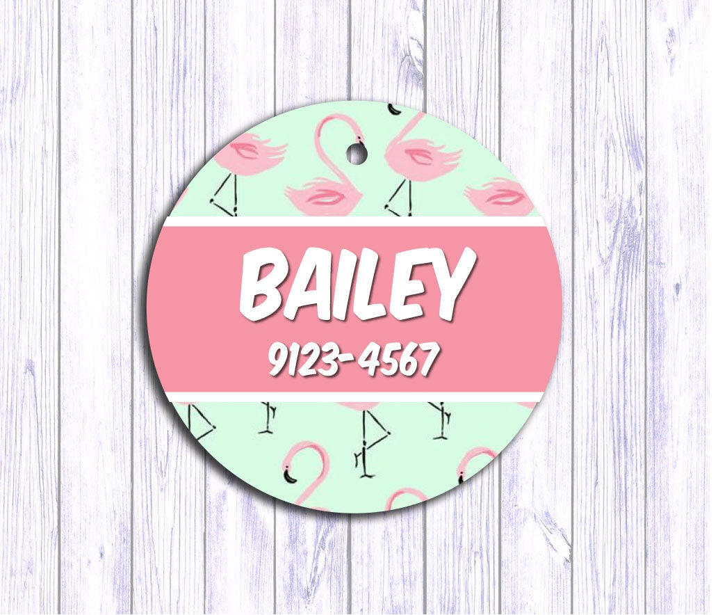 pink flamingo personalized dog tag cat id tag dog name tag dog tags