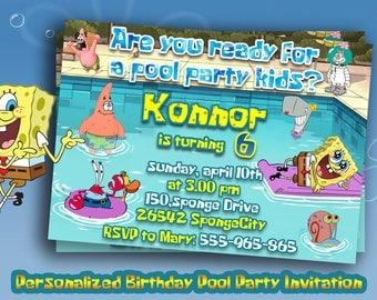 PERSONALIZED Pool party SPONGEBOB INVITATION,Spongebob Birthday party invites,Pool Party supplies,Spongebob Birthday,Printable invitations