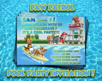 PAW PATROL Pool party INVITATION,Paw Patrol party invite,Personalized Birthday party invitations,Paw Party supplies,Birthday Summer party