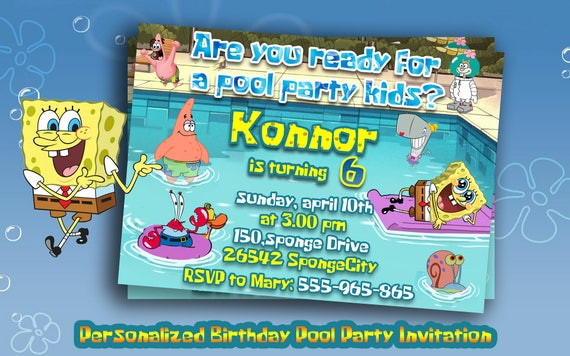Personalized pool party spongebob invitationspongebob personalized pool party spongebob invitationspongebob birthday party invitespool party suppliesspongebob birthdayprintable invitations solutioingenieria Gallery