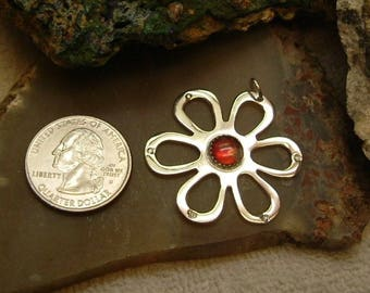 Bright to Deep Red Ammolite from Utah Deposit in Sterling Silver Ruby Red Ammolite Daisy Pendant 053 BG