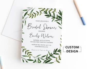 Greenery Bridal Shower Invitation, Bridal Shower Invitation, Bridal Shower Invite Printable, Watercolor Floral Bridal Shower Invitation