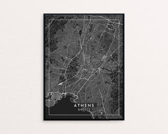Athens Black City Map Print, Clean Contemporary poster fit for Ikea frame 24x34 inch, gift art him her, Anniversary personalized travel